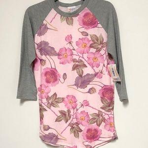 NWT-LulaRoe Pink & Gray Floral Shirt Sz Sm